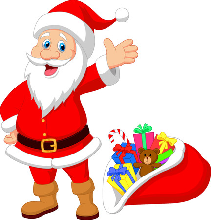 clause: Happy Santa Clause cartoon with gift