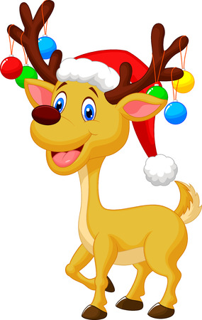 santa moose: Cute deer cartoon with red hat and christmas ball