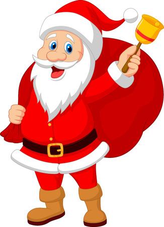 Kerstman cartoon met bel dragen zak