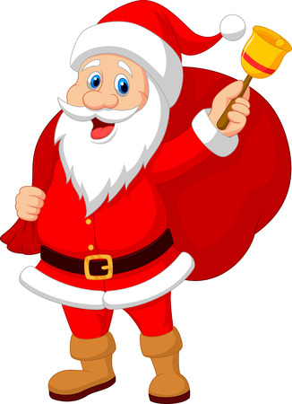 cartoon mascot: Santa Claus cartoon with bell carrying sack