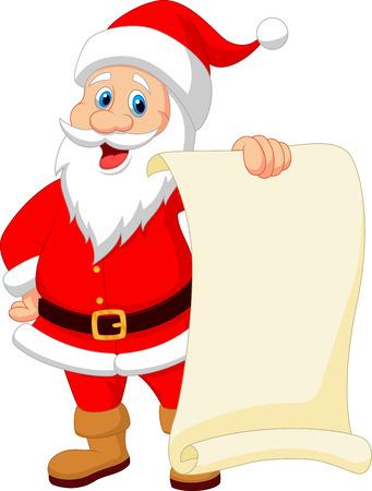 Santa clause cartoon holding blank vintage paper  Vector
