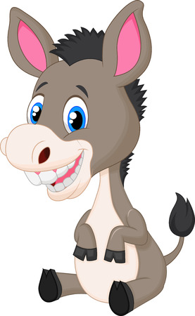 Horses: Cute baby donkey cartoon