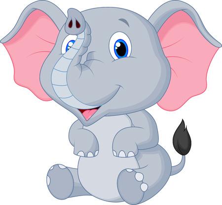 Cute baby elephant cartoon  Vector
