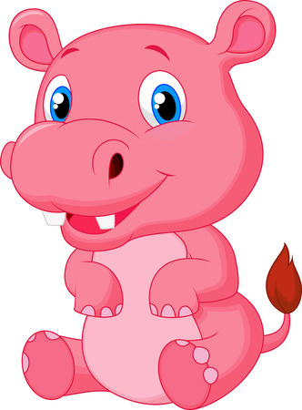 Cute hippo cartoon  Иллюстрация