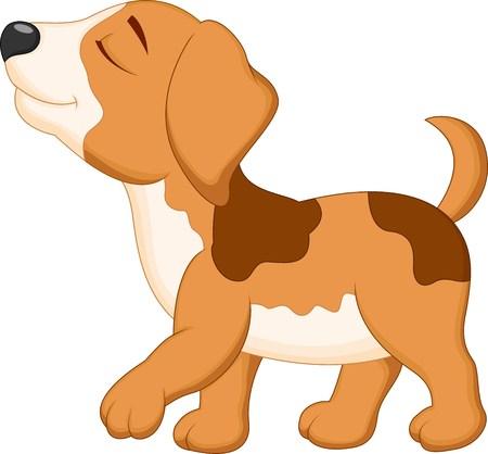 carita feliz caricatura: De dibujos animados caminar perro