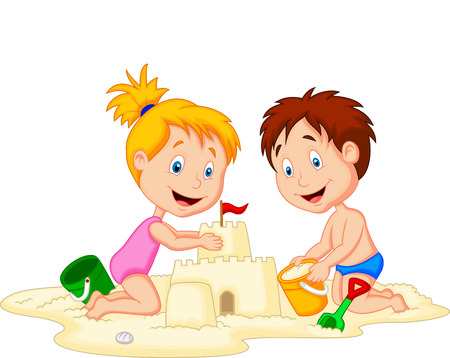 Children cartoon making sand castle  Illustration