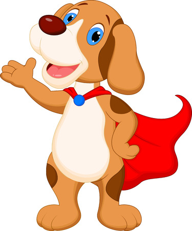 Cute super dog cartoon presenting  Illustration