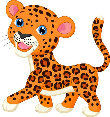 Cute baby leopard cartoon