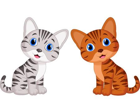 かわいい赤ちゃん猫漫画  イラスト・ベクター素材