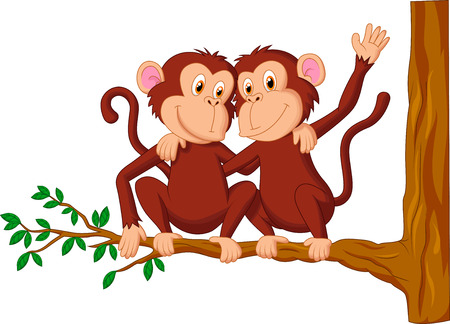 Two monkeys cartoon sitting on a tree  Illustration