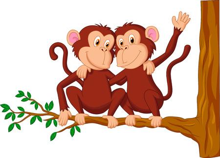 chimp: Two monkeys cartoon sitting on a tree  Illustration