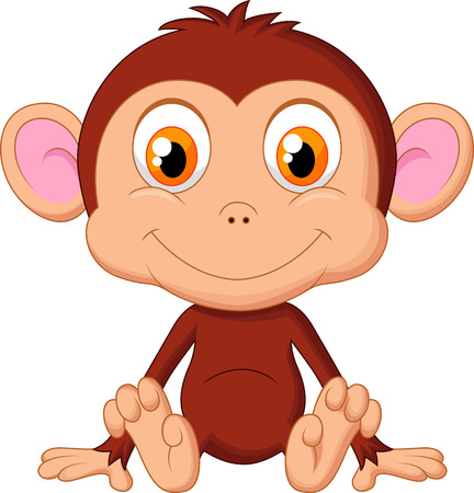 Cute baby monkey cartoon  Vector