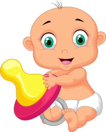 Baby cartoon holding pacifier  Illustration