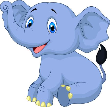 かわいい象の赤ちゃん漫画座っています。  イラスト・ベクター素材