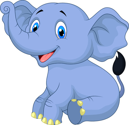 Cute baby elephant cartoon sitting Illustration