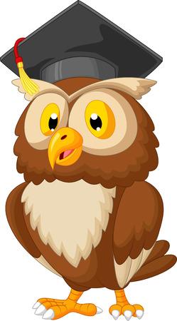 casquette: bande dessin�e de hibou de porter le chapeau de l'obtention du dipl�me