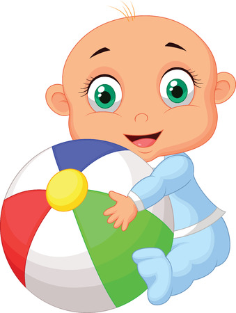 Baby boy cartoon holding colorful ball  Illustration