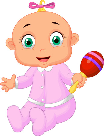 Baby girl cartoon with musical toy