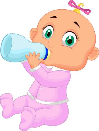 suckling: Baby girl cartoon drinking milk  Illustration