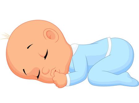 niño durmiendo: Bebé muchacho de la historieta de dormir Vectores