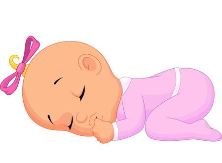 lying on bed: Beb� ni�a de dibujos animados dormir Vectores