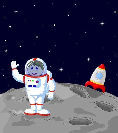 Astronaut cartoon landing on the moon  Vector