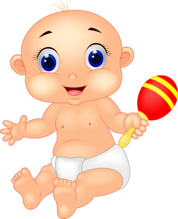 comic baby: Baby cartoon playing toy  Illustration