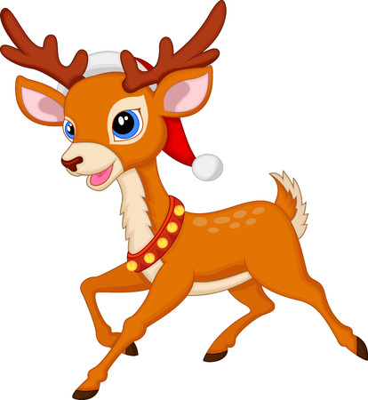 jungle jumping: Cute deer cartoon with red hat  Illustration