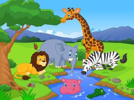 Cartoon Savannah scenery with animals and waterhole  Vector