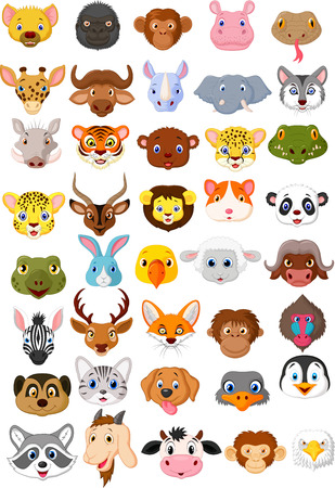 bull snake: Cartoon animal head collection set