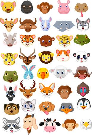 dieren: Cartoon dierlijke hoofd collectie set