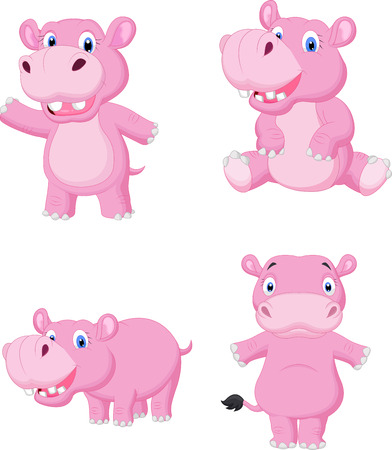 gesturing: Cute hippo cartoon  Illustration