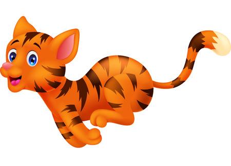 Cute cat cartoon running Ilustrace