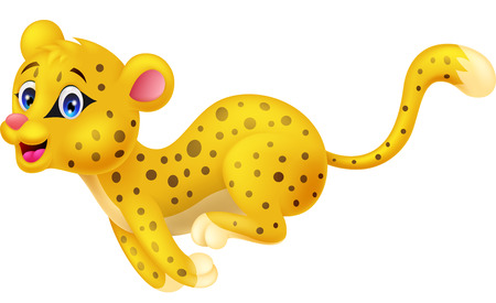 panthera pardus: Cute cheetah cartoon running