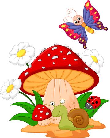 cartoon mushroom: Small animal cartoon