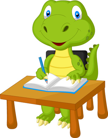 Cute dinosaur cartoon studying  Vector