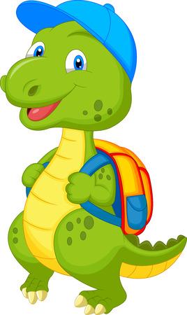 dinosaur cute: Cute dinosaur cartoon with backpack