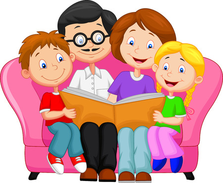 woman reading book: Happy family cartoon reading book