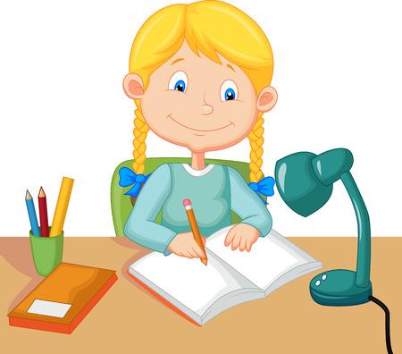 Little girl cartoon studying
