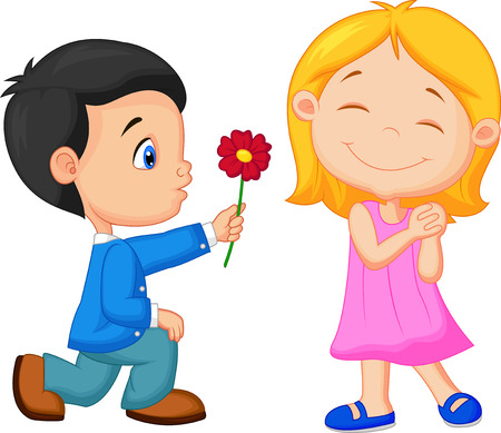 little one: Cartoon Little boy kneels on one knee giving flowers to girl  Illustration