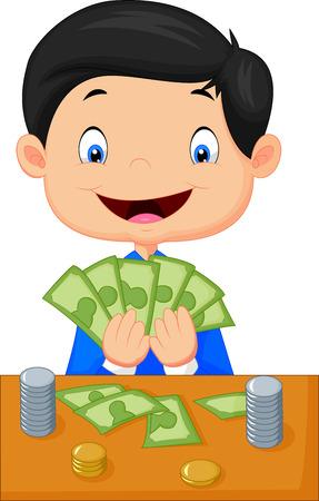 Muchacho de la historieta de contar el dinero Foto de archivo - 27166461