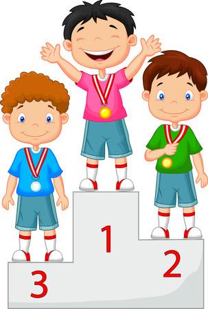 deportes caricatura: Poco muchacho de la historieta celebra su medalla de oro en el podio Vectores