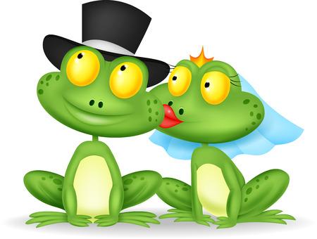 Married frog cartoon kissing  Illusztráció