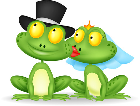 Married frog cartoon kissing  Illustration