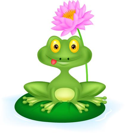 raton: Historieta de la rana verde que se sienta en una hoja