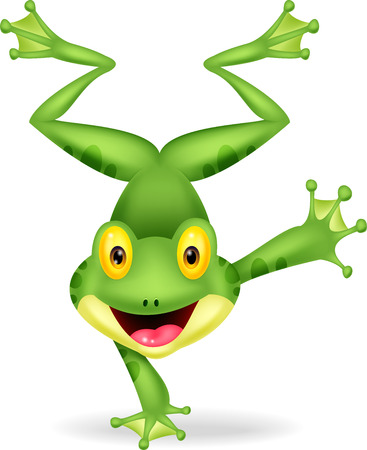 Funny frog cartoon standing on its hand  Illustration