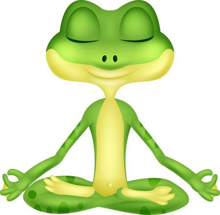 smiling frog: Dibujos animados de la rana que hace yoga Vectores
