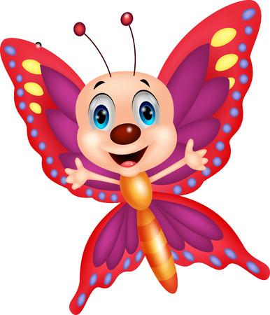 Słodkie kreskówka motyl