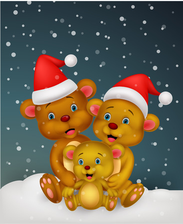 Bear cartoon family wearing red hat  Vector