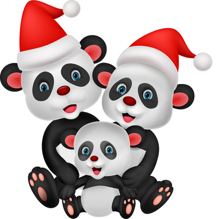 Cute cartoon panda bear family  Vector
